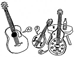 A sketch I did in the mid-1970's for a poster to advertise a gig by a folk duo I had with Paul Kahn. The instruments shown here were all mine, as was the stool and the bottle of Bushmills Irish Whisky on it